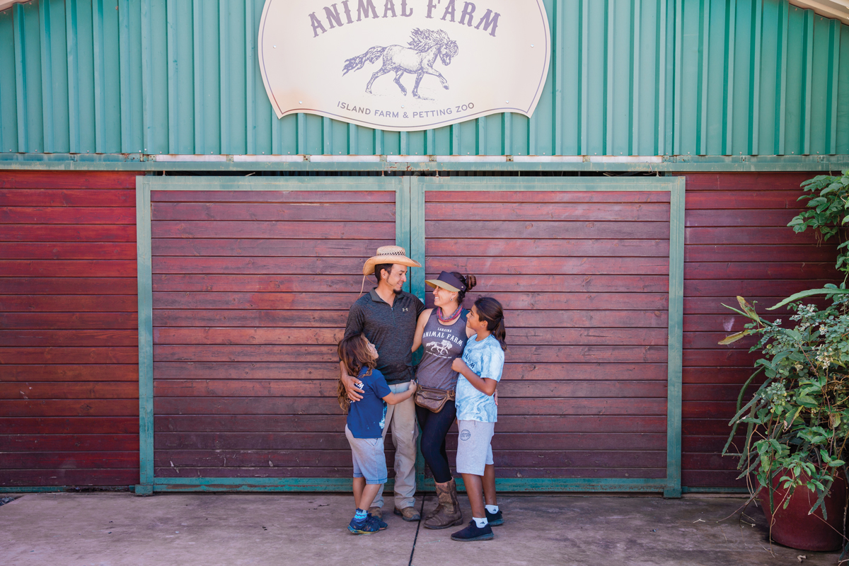 Family who manages farm