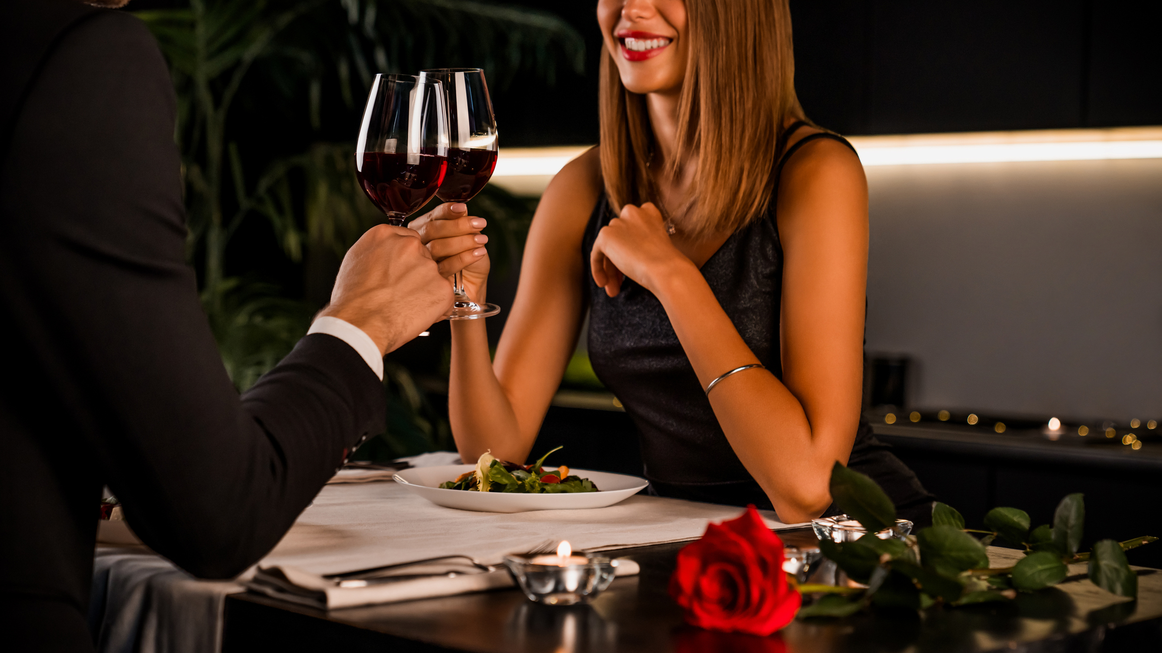 Romantic Couple Having Intimate Dinner For Two At Home Kitchen