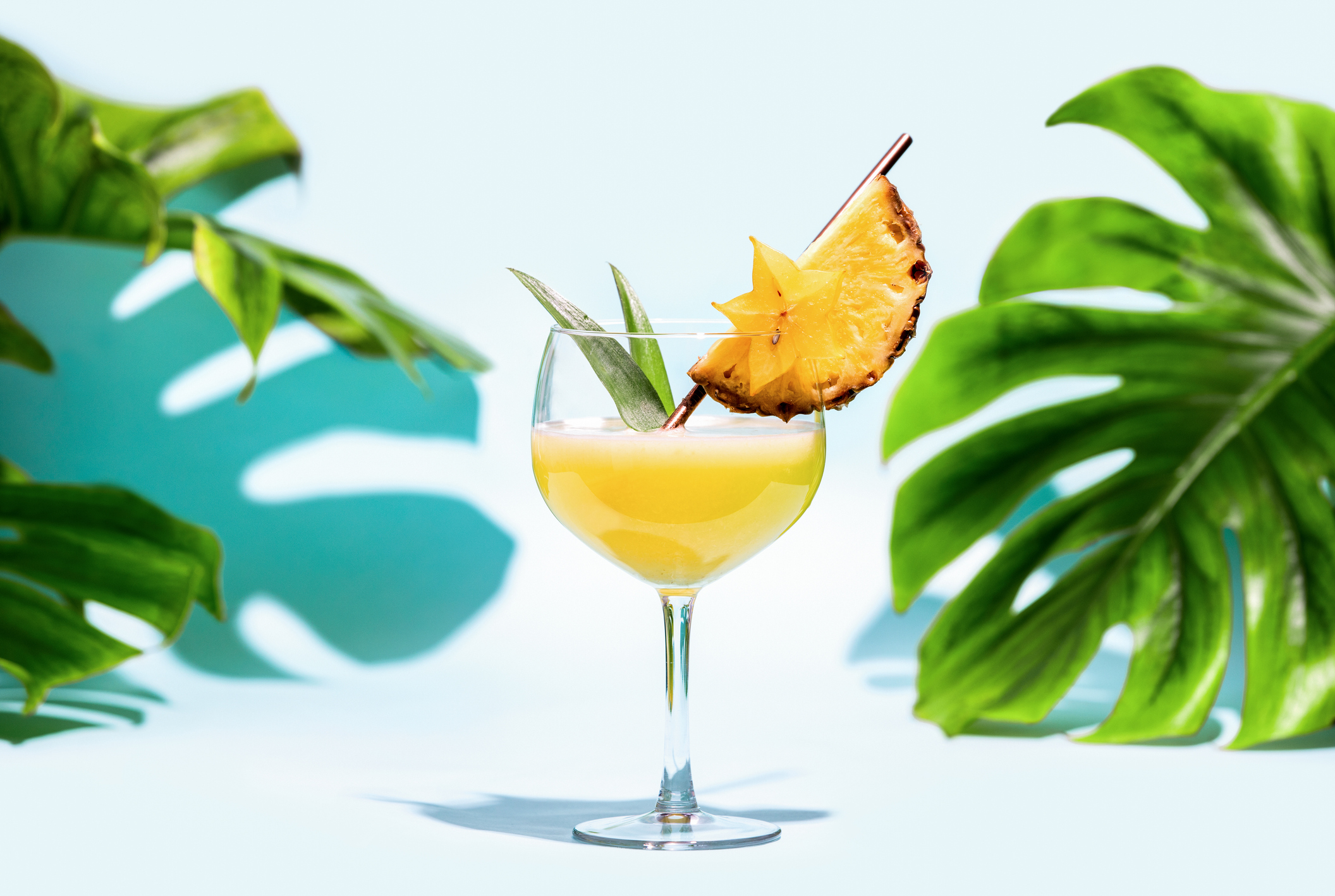 Summer Refreshing Alcoholic Cocktail Concept, Front View