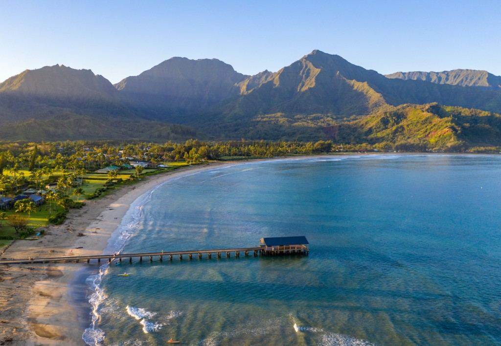 Aerial Drone Shot Of Hanalei Bay And Beach On The North Shore Of Kauai In Hawaii