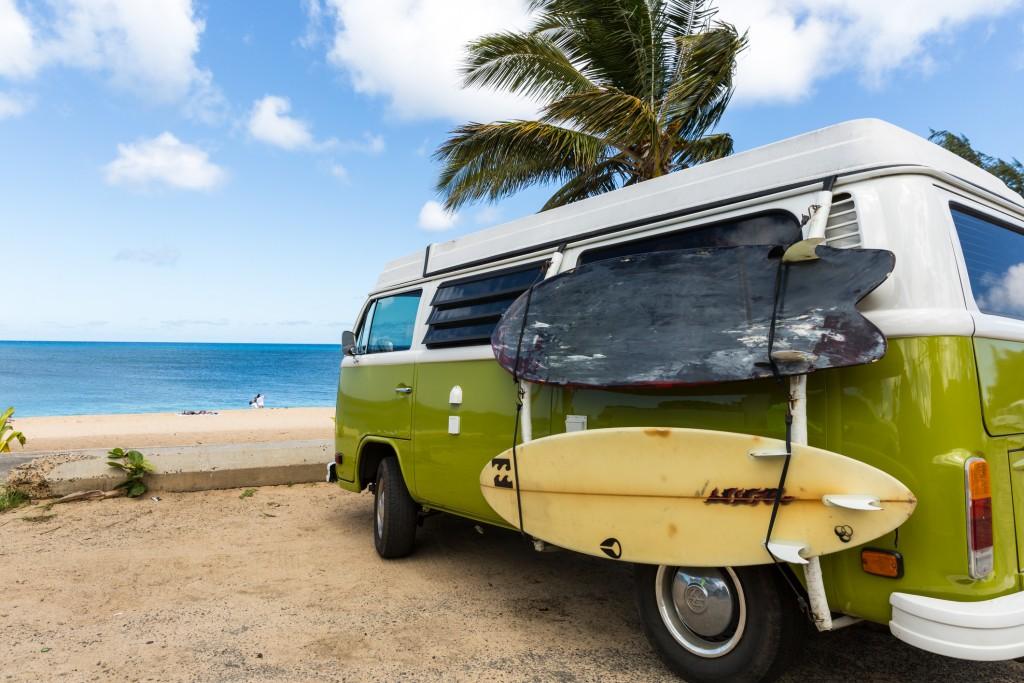 Volkswagen Westfalia Camper Van On Tropical Beach And Surf Boards