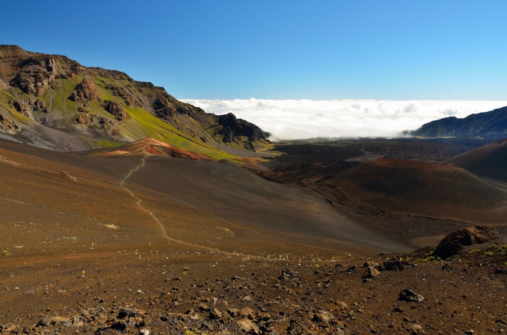 Looking Down In The Haleakala Crater, Maui Island, Hawaii
