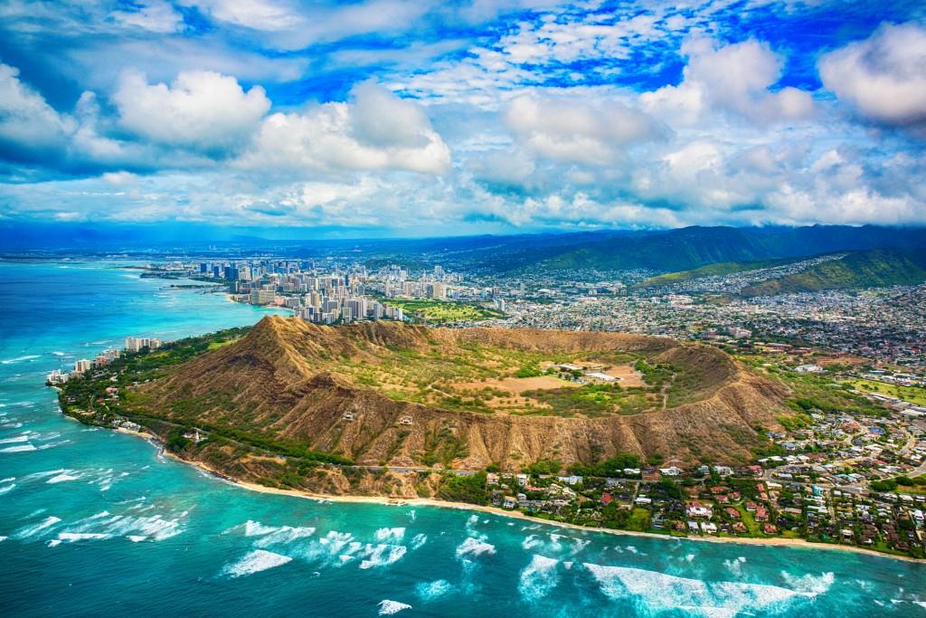Aerial Of Honolulu Hawaii Beyond Diamond Head