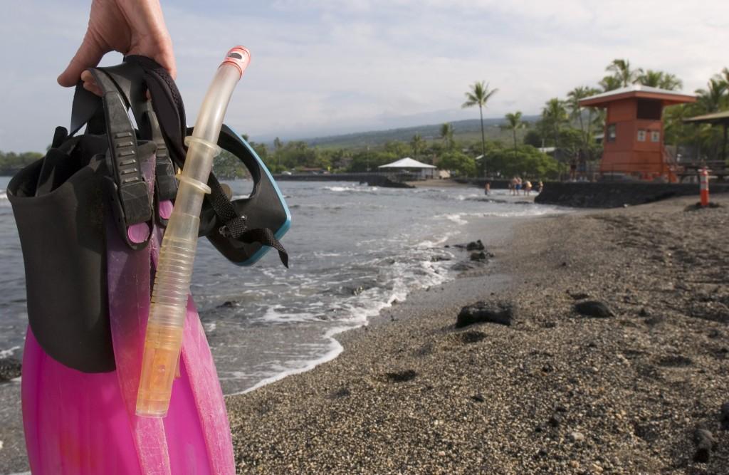 Snorkler At Kahaluu Beach Park, Kona Hawaii