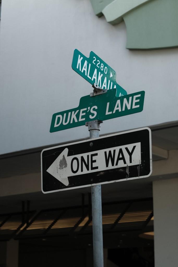 Kalakaua Avenue & Duke's Lane Street Sign In Waikiki, Honolulu, Hawaii, Usa