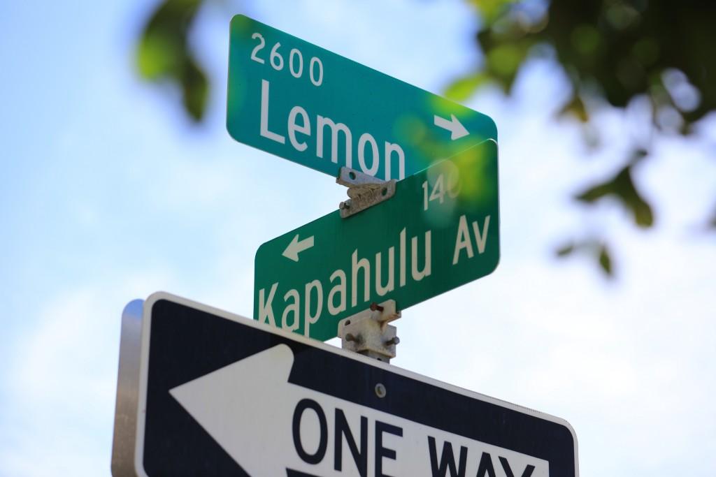 Lemon Road & Kalahulu Ave Street Sign In Waikiki, Honolulu, Hawaii, Usa