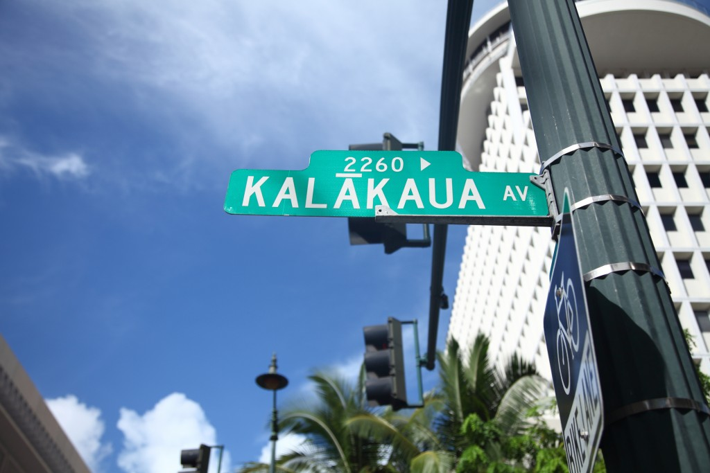 Road Sign Of Kalakaua Avenue